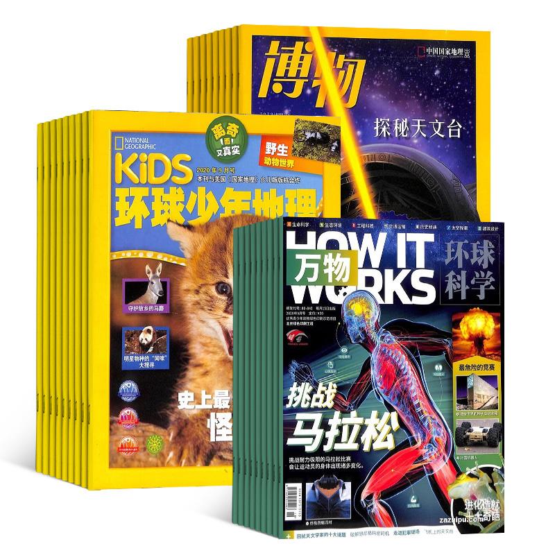 博物(1年共12期)+KiDS环球少年地理(1年共12期)+万物(带音频)(1年共12期) 杂志订阅