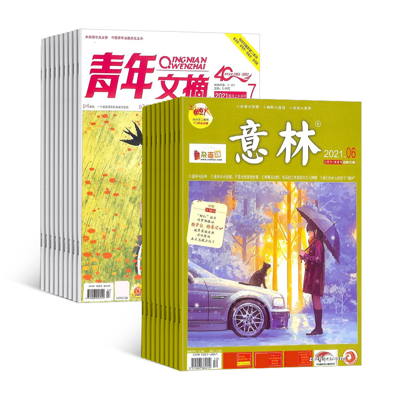 意林(1年共24期)+青年文摘(1年共24期)两刊组合订阅(杂志订阅)
