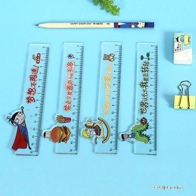 米小圈文具 亚克力格尺15cm直尺透明塑料卡通尺子 (四把)